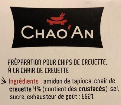 Préparation pour Chips de Crevettes - Ingrediënten