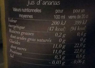 Pur jus Ananas du Costa Rica - Informations nutritionnelles - fr