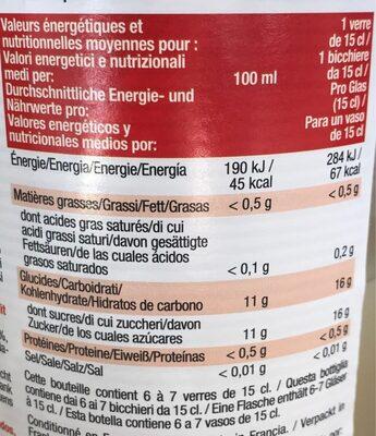 Boisson à la goyave blanche et au litchi - Informations nutritionnelles - fr