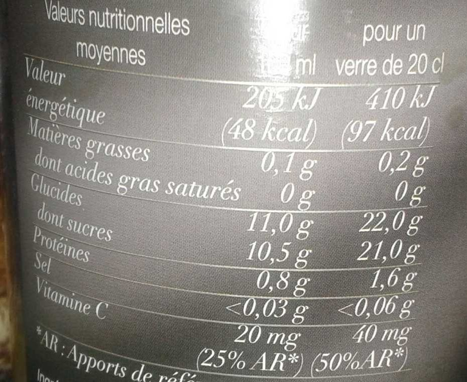 Pur jus de clémentine - Nutrition facts