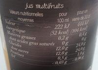 Pur Jus Douceur de Fruits Orange Clémentine Raisin Blanc - Nutrition facts
