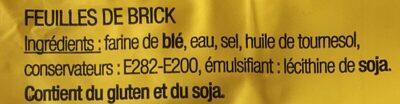 Feuilles de Bricks - Ingrédients - fr