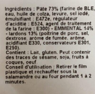Bretzel Gratine fromage lardon - Ingredients - fr