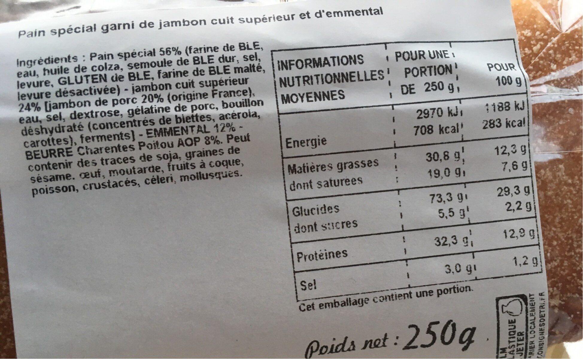 Sandwich jambon beurre - Nutrition facts - fr