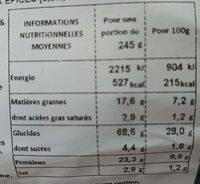 Sandwich émincés de poulet tomate salade sauce piripiri - Voedingswaarden - fr