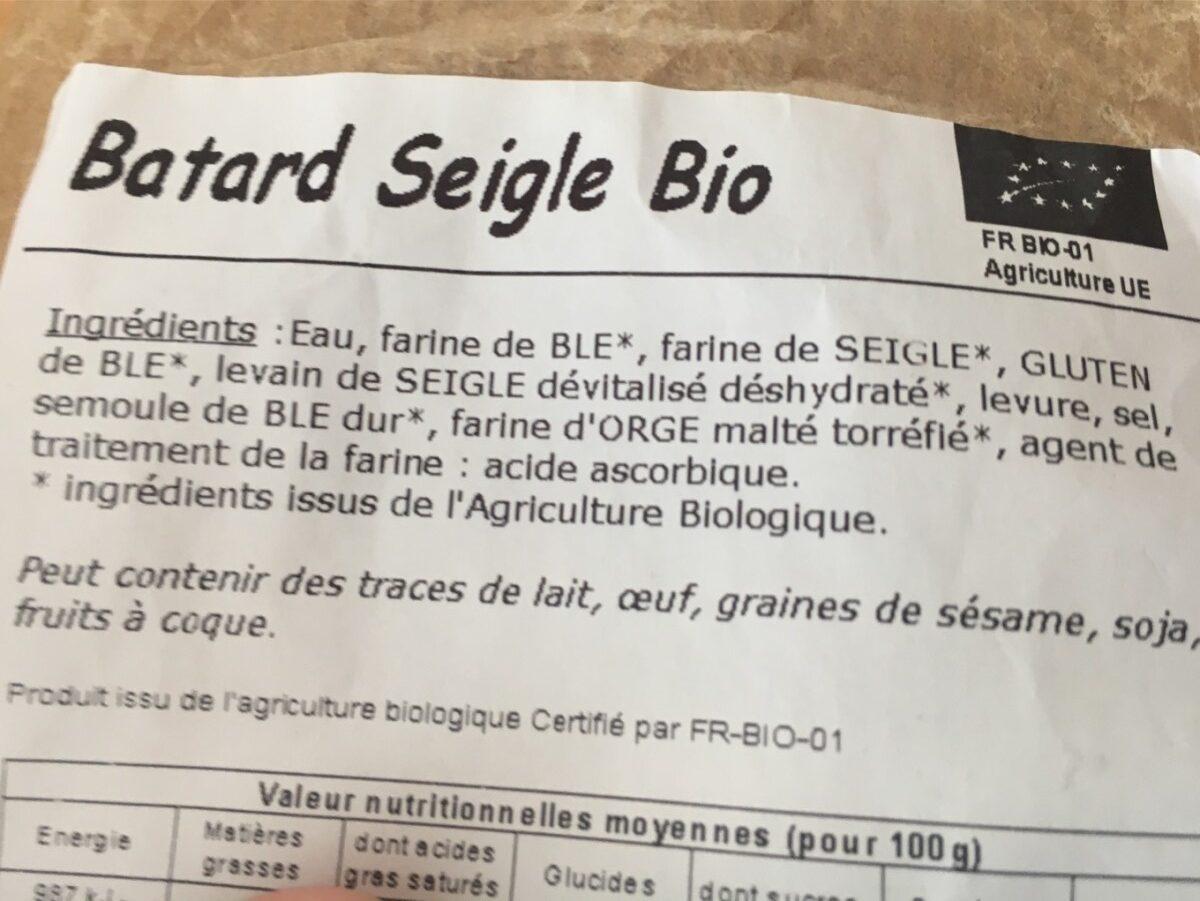 Batard Seigle Bio - Ingrédients