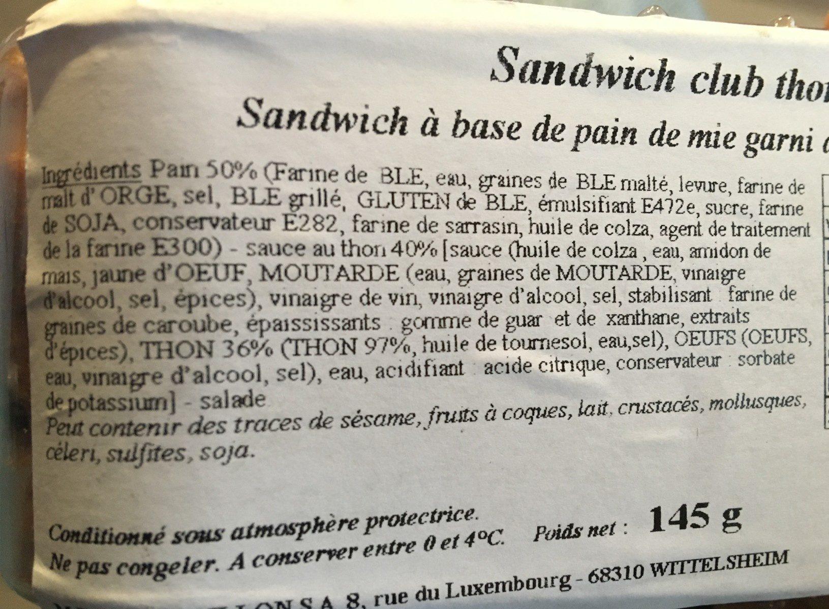 Sandwich club thon - Ingrédients