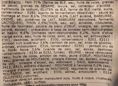 Panière mixte - Ingrédients - fr