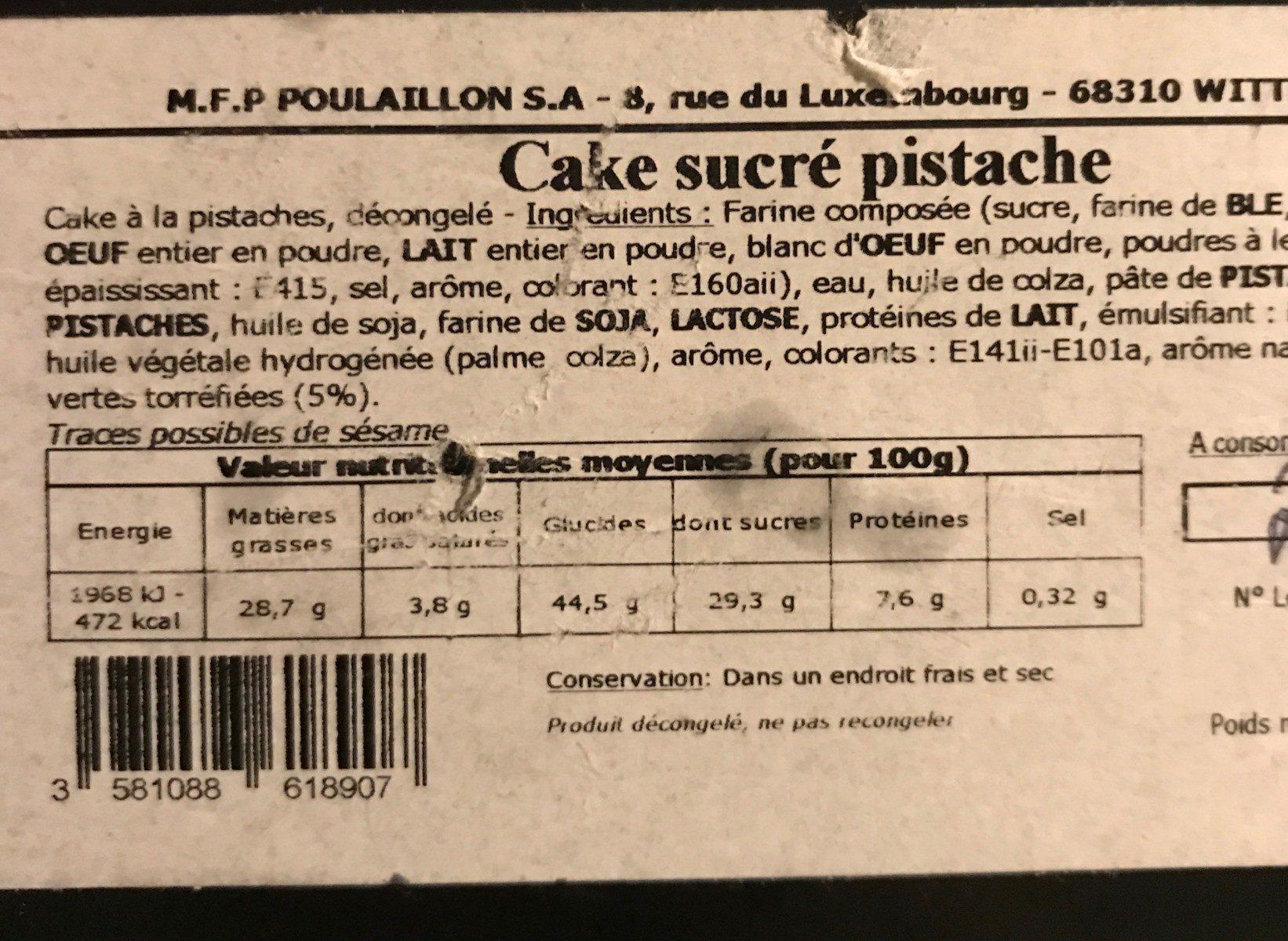 Cake pistache - Produit - fr