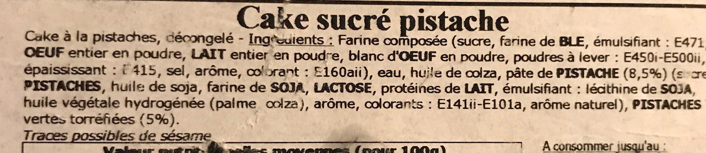 Cake pistache - Ingrédients - fr