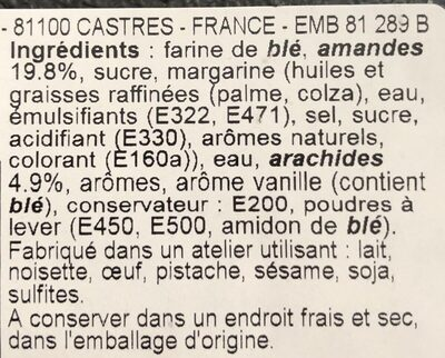 Corne de gazelle - Ingredients