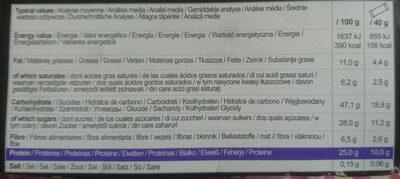 Protein bar - Informació nutricional