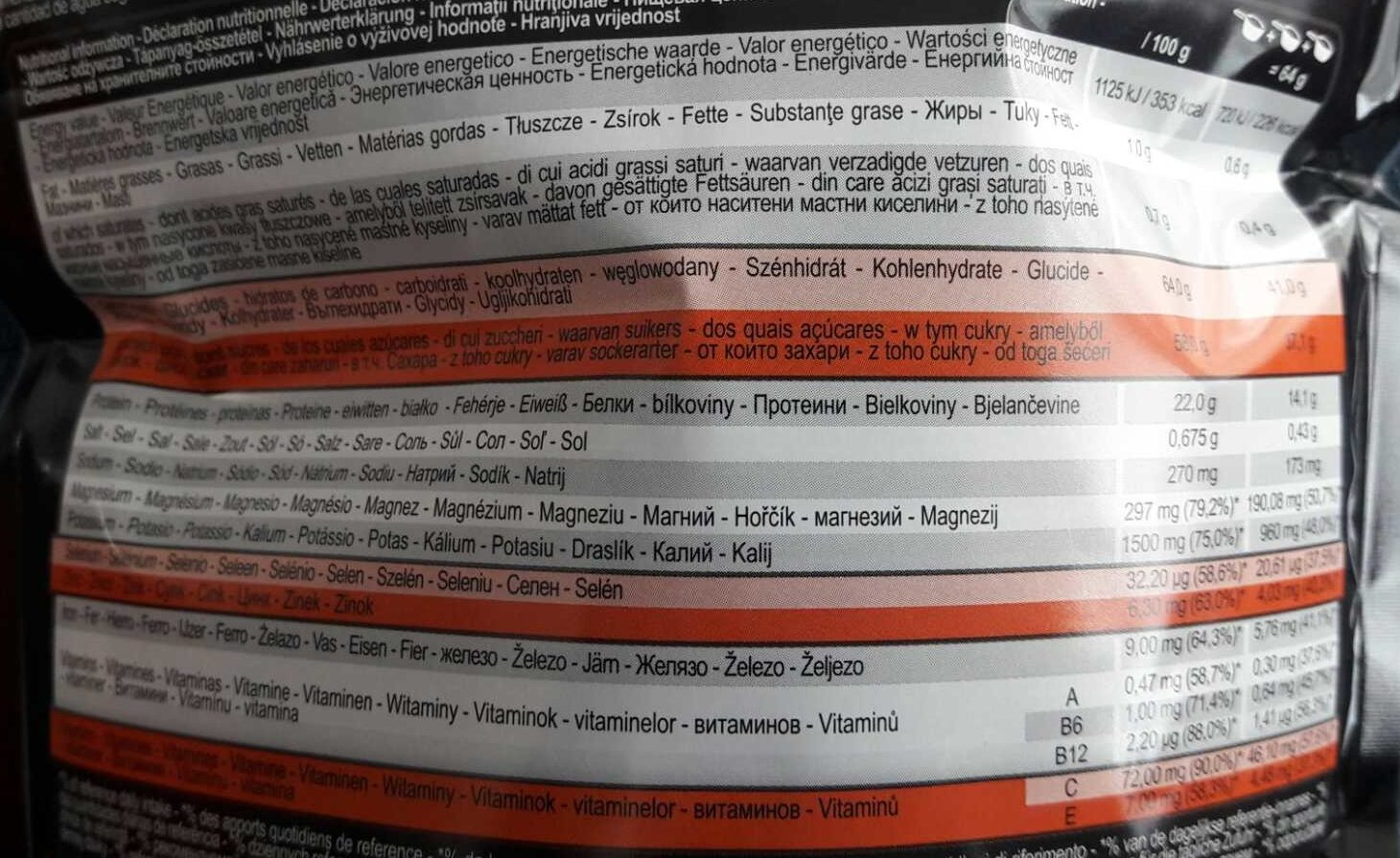 Recovery Drink - Informations nutritionnelles - fr