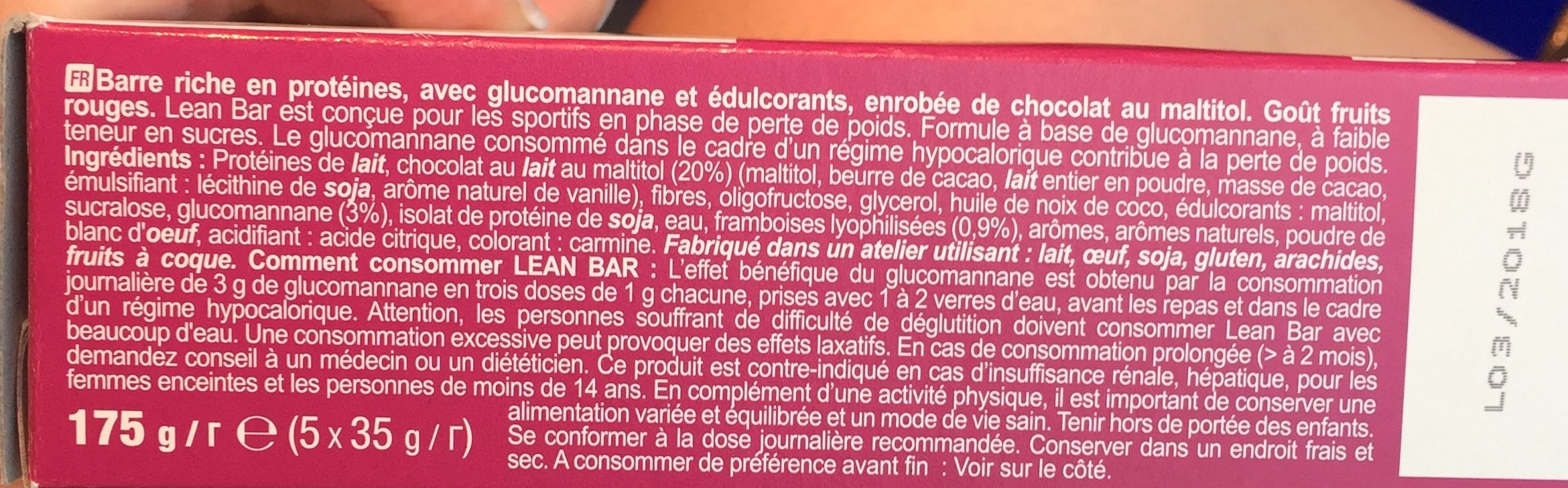 Lean Bar, Red Fruits Flavour - Ingredients