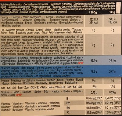 Iso orange flavour - Nutrition facts