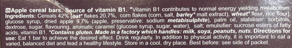 Barres de céréales - Ingredients