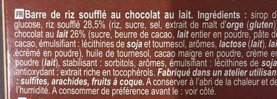 Choco rice bars - Ingredients