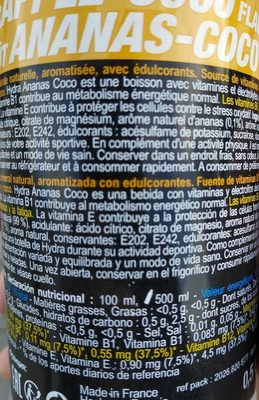 Hydra drink Ananas Coco - Nutrition facts