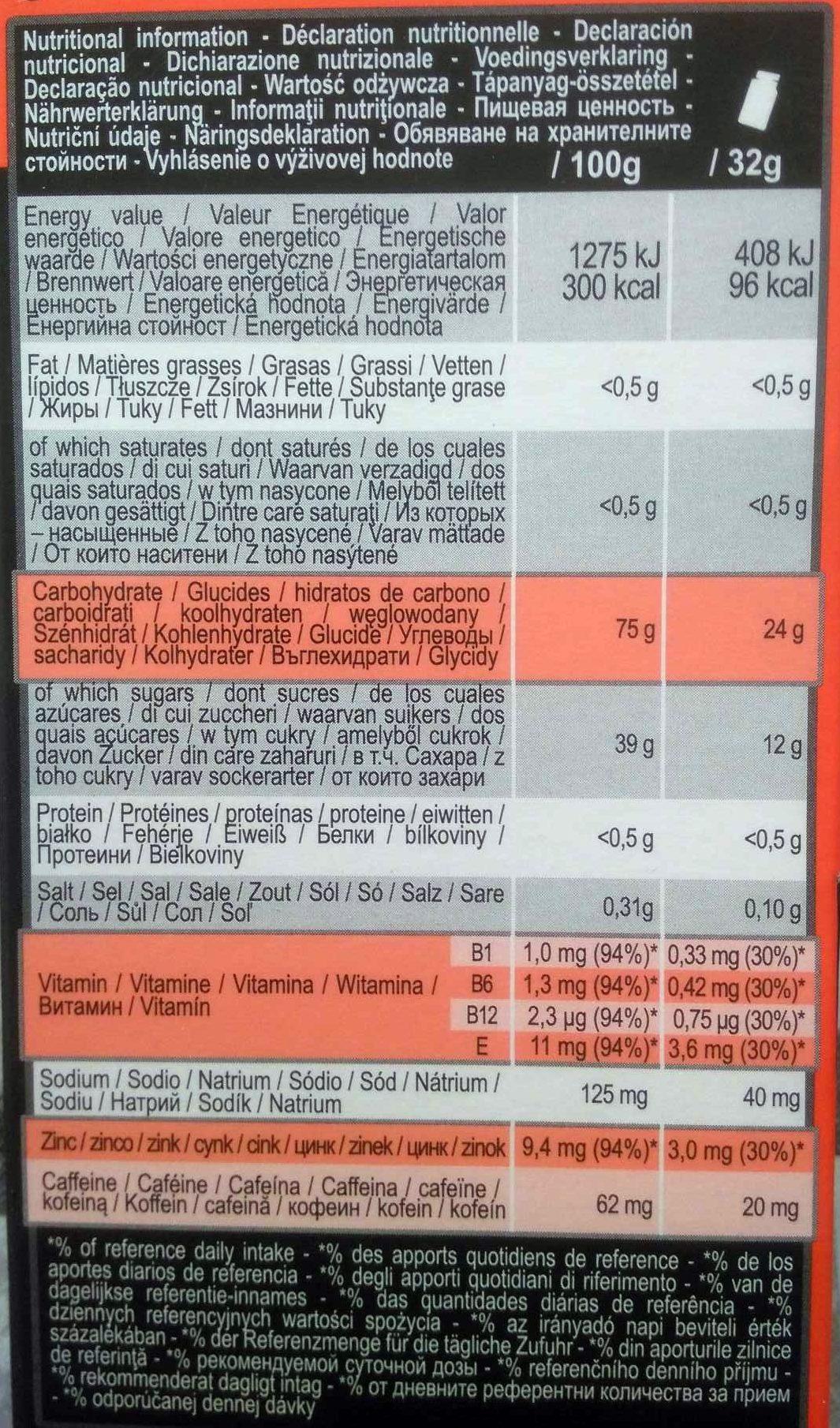 Ultra Gel 500 Goût Melon - Informations nutritionnelles - fr