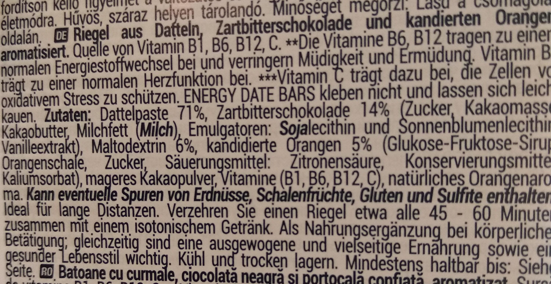 Energy date bars - Inhaltsstoffe - de