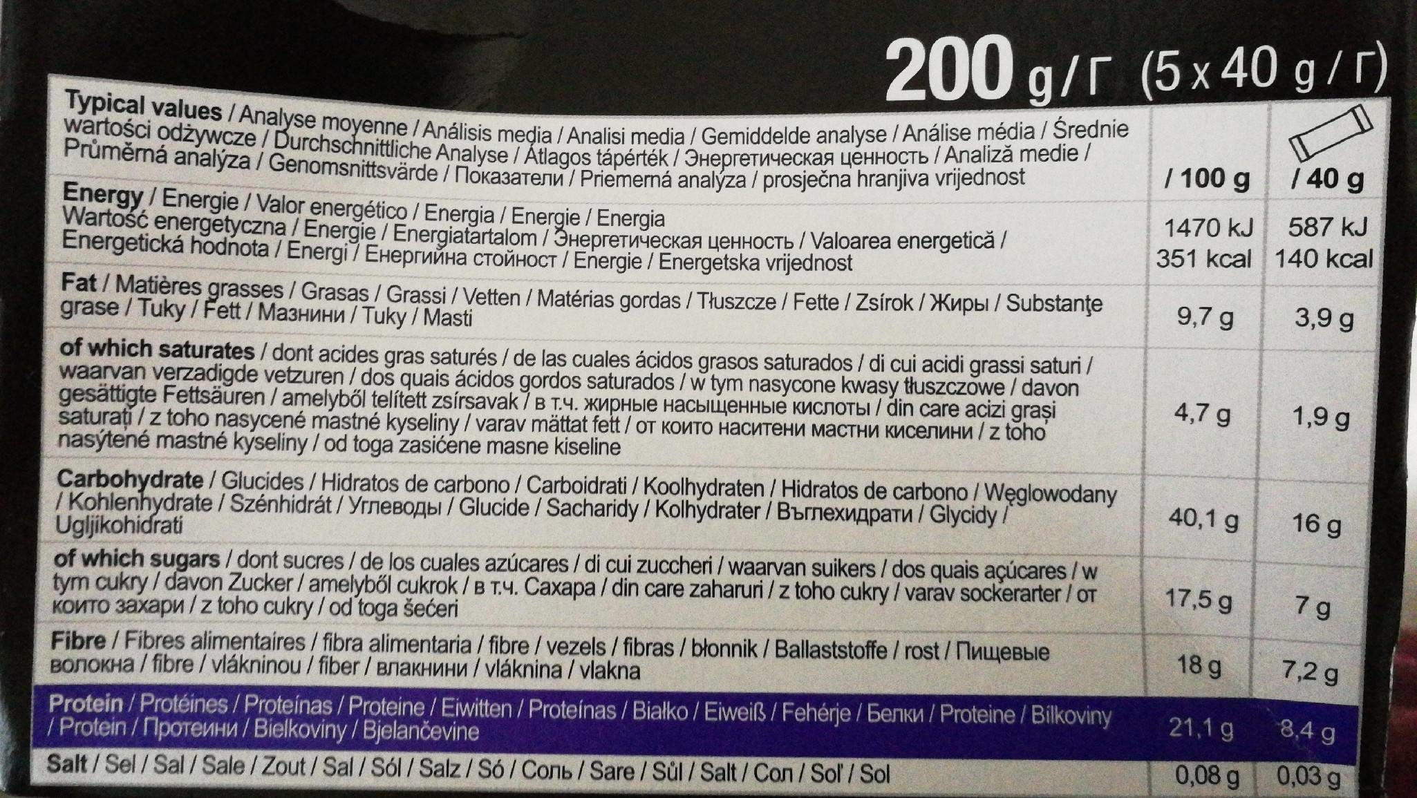 After Sport Protein Bar, Dark Chocolate Orange - Informations nutritionnelles - fr