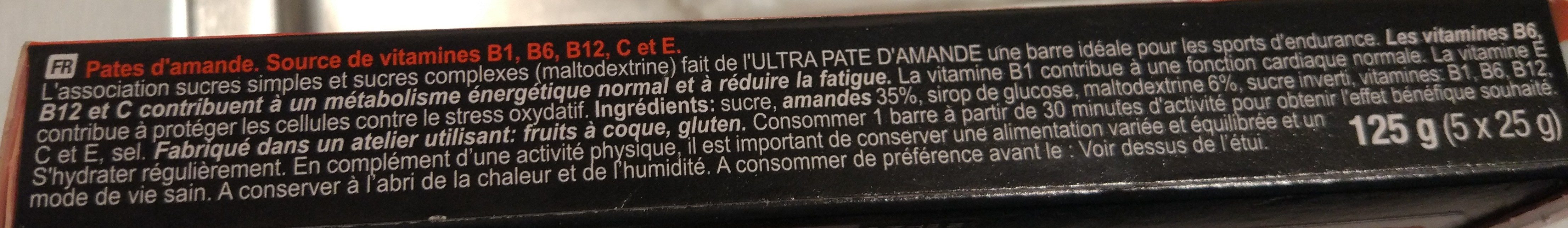 Barre amande - Ingredientes - fr