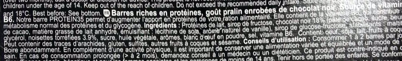 Protein 35 bars - Ingredients - fr