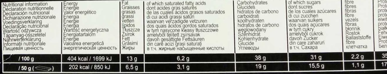 Protein 35 bars - Nutrition facts - fr