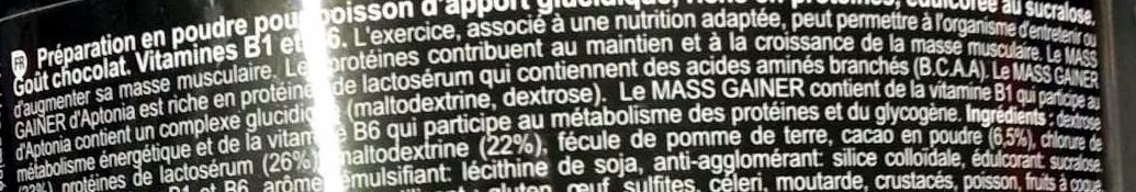 Mass gainer - Ingrédients - fr