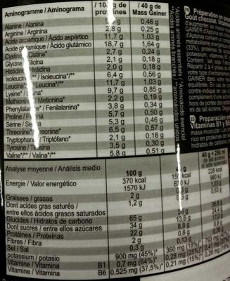 Mass gainer - Informations nutritionnelles - fr