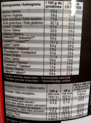 CW Casein  & Whey Protein - Informations nutritionnelles