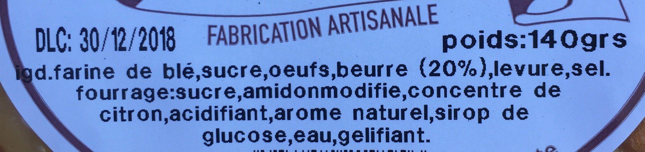Tarte de Montagne Citron - Ingredients - fr