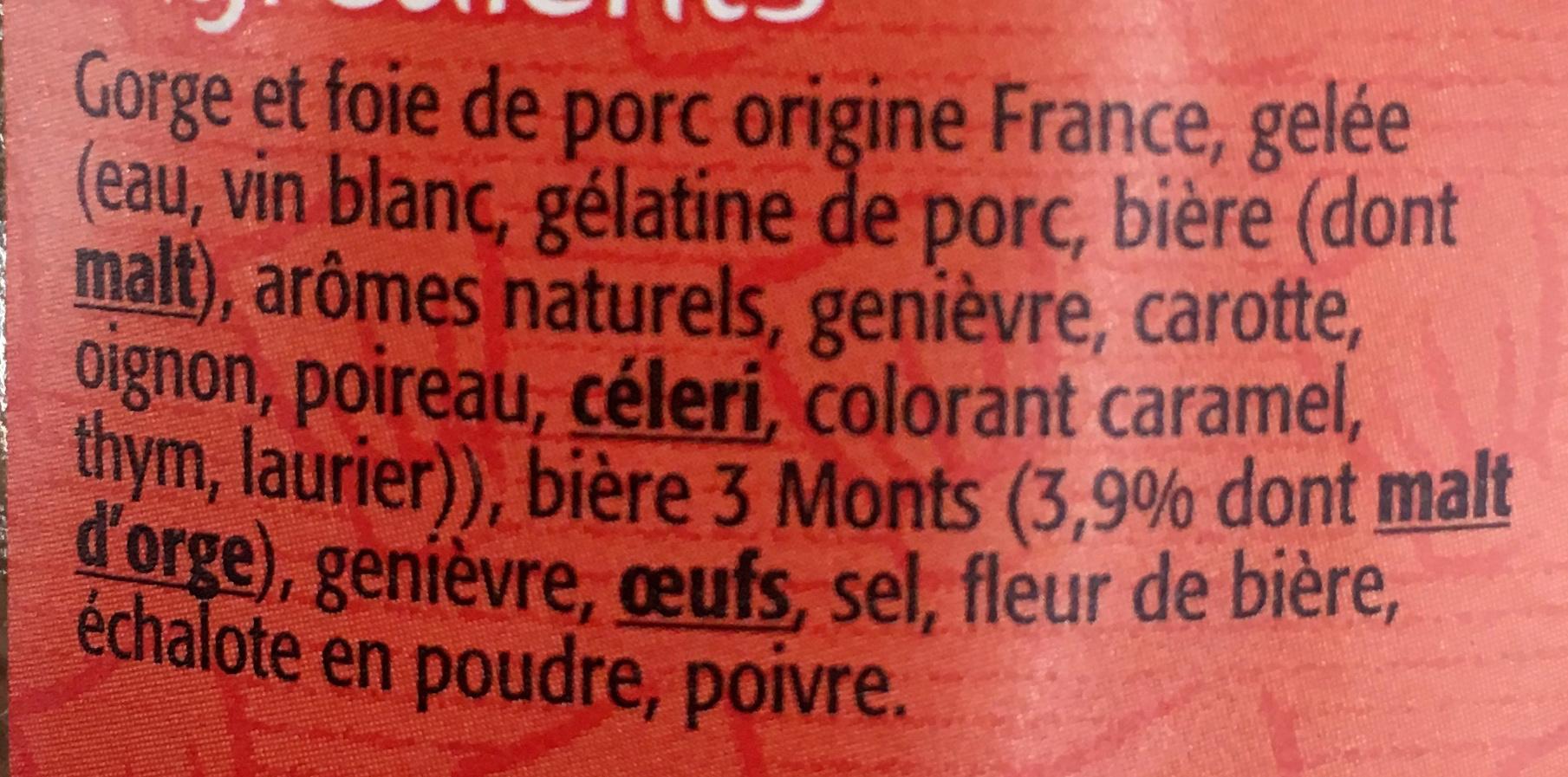 """Terrine à la bière """"3 Monts"""" - Ingredients"""