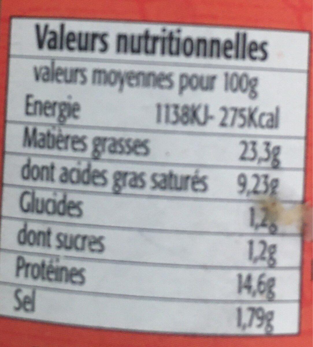 """Terrine à la bière """"3 Monts"""" - Nutrition facts"""
