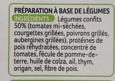 Galettes aux légumes confits - Ingrédients