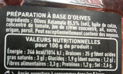 Tapenade - Voedingswaarden - fr