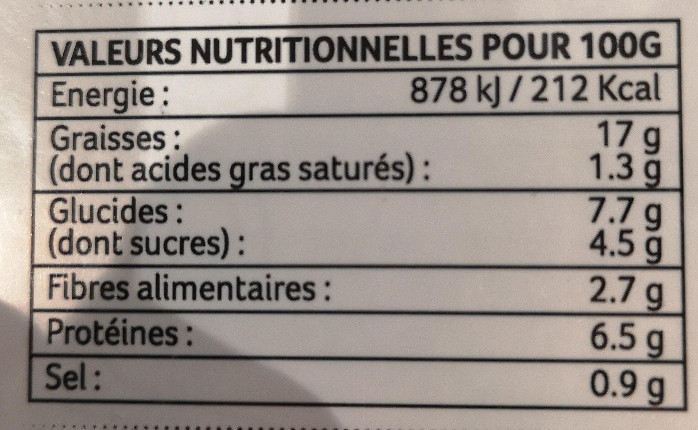 Bolo végétale - Informations nutritionnelles