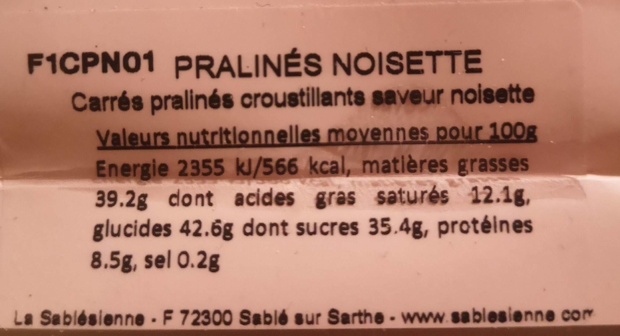 Pralinés Noisette - Informations nutritionnelles - fr