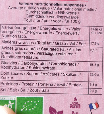 Biscuits bio pépites de chocolat & goût banane - Nutrition facts - fr