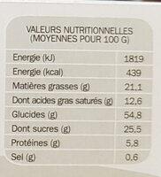 Sablés pepites de chocolat - Informations nutritionnelles - fr