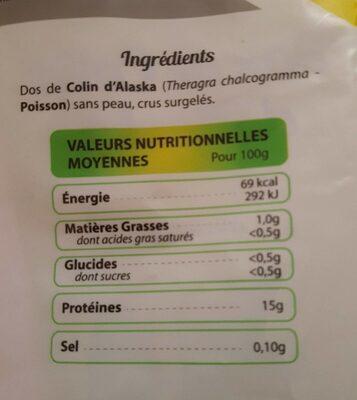 Dos de colin d'alaska - Voedingswaarden - fr