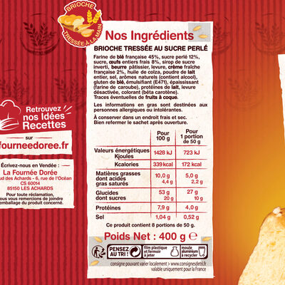 La Brioche Tressée Sucre - Voedingswaarden - fr