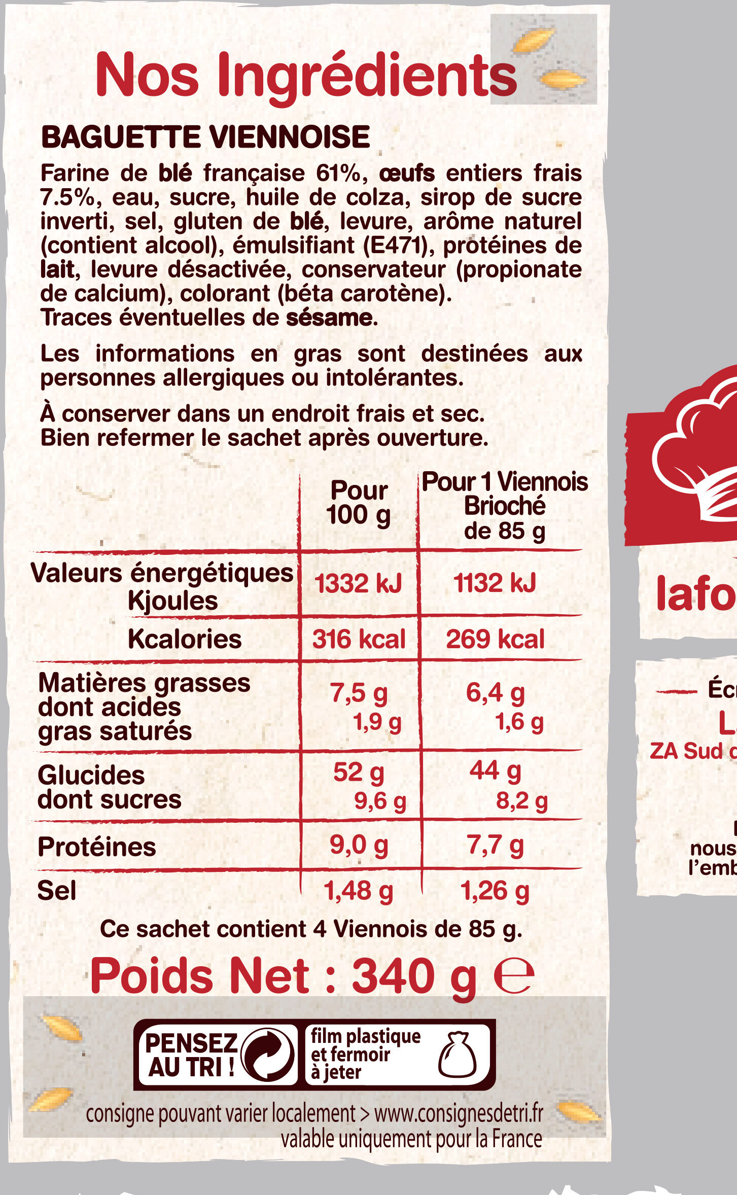 4 Viennois - Ingrediënten - fr