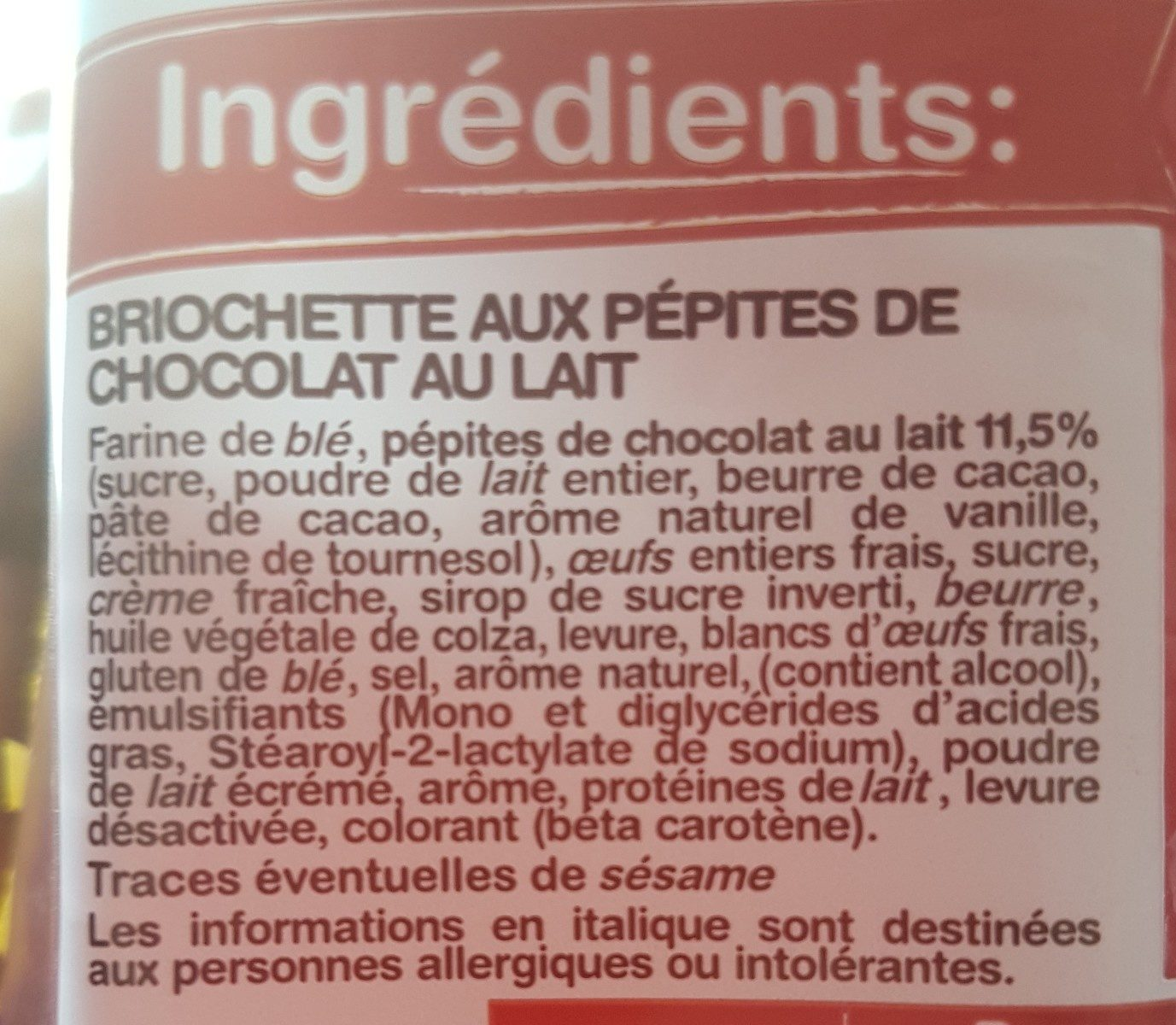Navette pépites de chocolat - Ingredients