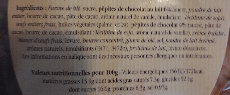 Baguettes viennoises pépites de chocolat - Ingrediënten - fr