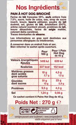 6 pains hot dog - Ingrédients - fr