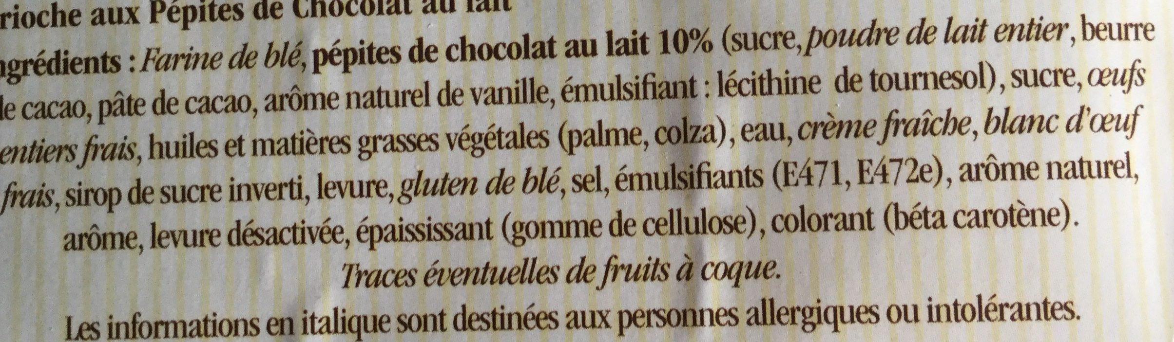 Brioche Tressée aux Pépites de Chocolat au Lait - Ingrediënten - fr