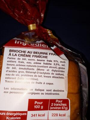 La Gâche Tranchée au Beurre Frais et à la Crème Fraîche - Ingrédients - fr