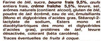 La Gâche Tranchée au Beurre Frais et à la Crème Fraîche - Ingrediënten