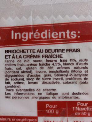 8 navettes beurre frais et crème fraîche - Ingrediënten - fr